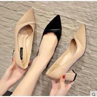 尖头单鞋女高跟鞋网红同款新款韩版粗跟百搭浅口拼色职业工作鞋