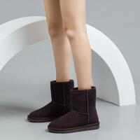 �W古�{登雪地靴女2020新款冬季�r尚真皮短筒保暖短靴棉鞋女冬加�q