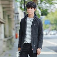 新款男士中长款连帽风衣韩版绅士男春秋装英俊帅气尼料大衣 灰色