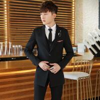 男士西服套装男韩版修身中长款正装职业西装三件套结婚礼服小西装