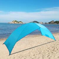 自动户外帐篷遮阳棚家庭旅游防雨速开露营加厚双人手搭折叠帐篷 天蓝色 手搭无底沙滩帐篷