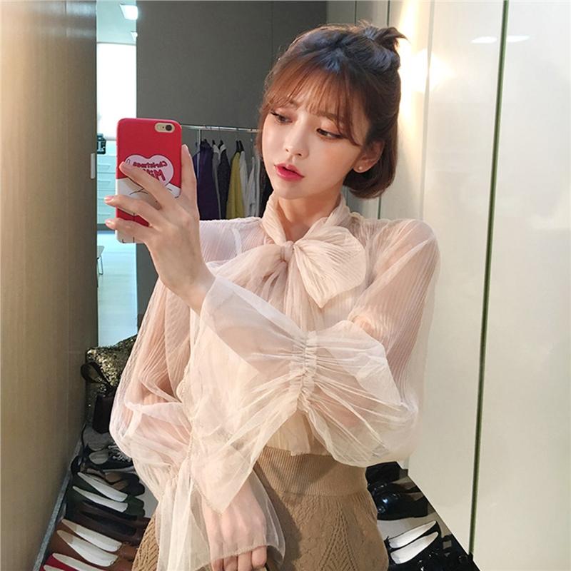 雪纺蕾丝衫长袖衬衫女2019秋冬新款韩版气质蝴蝶结领洋气上衣小衫