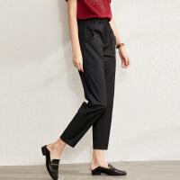 【到手价:120元】Amii帅气BF风束腰休闲裤2020春季新款工装裤宽松显瘦直筒九分裤女
