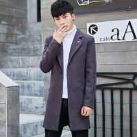 冬季新款毛呢大衣男士外套时尚修身中长款翻领青少年风衣男装