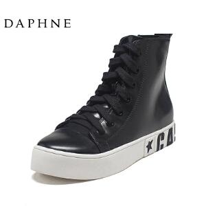 Daphne/达芙妮女鞋新款时尚舒适潮流休闲纯色深口系带女布鞋单鞋