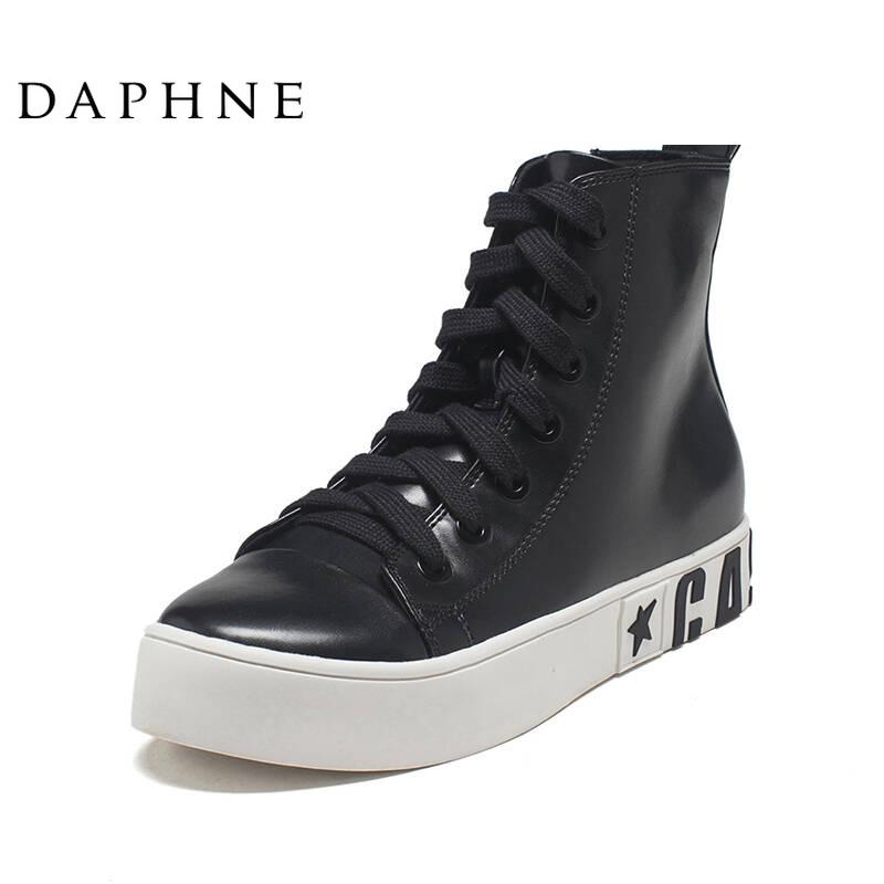 达芙妮女鞋新款时尚舒适潮流休闲纯色深口系带女布鞋单鞋