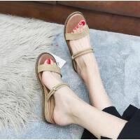 凉鞋女新款平底沙滩女拖露趾带罗马鞋学生坡跟两穿凉拖鞋女