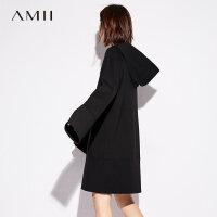 Amii[极简主义]连帽连衣裙2017秋装新款休闲帅气抽绳超长袖裙子