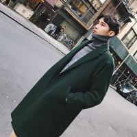 冬季新款羊绒大衣男士 中长款青年风衣外套韩版宽松毛呢大衣 男