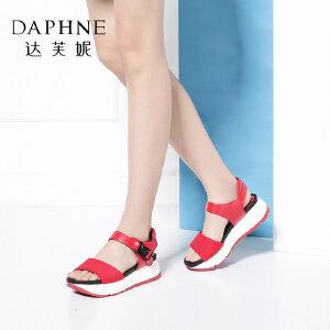 【双十一狂欢购 1件3折】Daphne/达芙妮女鞋夏季学院风休闲时尚厚底舒适凉鞋