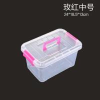 可手提透明收纳箱整理箱塑料箱子有盖大小号手提储物箱衣物收纳盒 单个