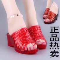 女士拖鞋夏透明水晶塑料室外坡跟厚底高跟透气情侣大码防滑凉拖鞋