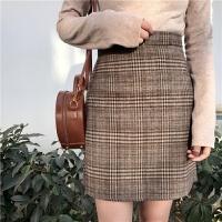 春装女装韩版高腰百搭格子半身裙呢子短裙A字裙学生格子裙包臀裙 格子