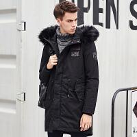 [2.5折价299.8元]唐狮冬装新款羽绒服男毛领可脱卸连帽中长款羽绒服潮