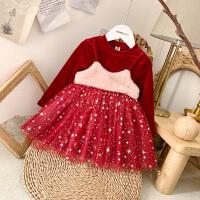 女宝宝连衣裙冬装新款韩版丝绒假两件公主裙