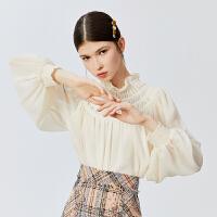 【5.7-5.14抢购价:129元】LILY女装复古宫廷宽松肌理感雪纺蕾丝木耳边套头衫