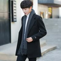 新款中长款修身帅气男士冬季加厚毛呢大衣青年个性刺绣呢子风衣潮