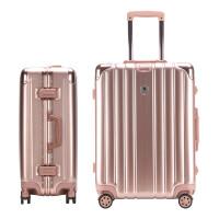 万向轮拉杆箱女行李箱男24寸学生旅行箱铝框复古密码箱h 玫瑰金 24寸