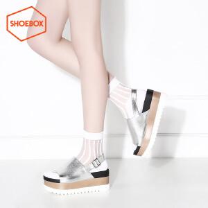 达芙妮旗下SHOEBOX/鞋柜夏高跟拼色松糕凉鞋露趾一字扣带女鞋