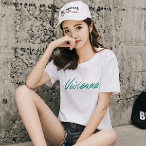 AGECENTRE 2018新款夏装宽松短袖t恤女韩版百搭学生夏季半袖白色上衣