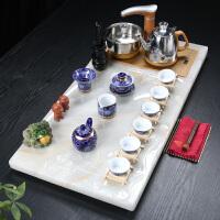 【品牌热卖】茶具套装四合一茶具茶盘套装玉石茶台家用简约现代整套欧式自动四合一体电磁炉 金丝白茶盘+蓝色珐琅彩茶具 20