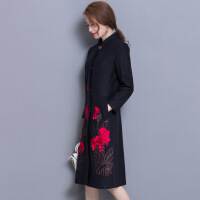 冬季新款时尚优雅气质修身大码毛呢外套女中长款羊毛呢大衣