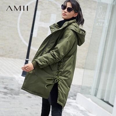 Amii极简时尚开衩羽绒服女2018冬新款连帽绑带燕尾摆撞色90绒外套