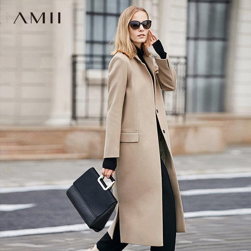 【品牌团 1件7折/2件5折】Amii轻奢美 经典H型毛呢子外套 驼色气质修身长款2017冬季大衣女