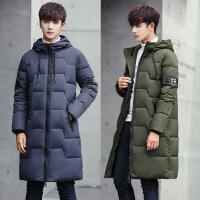 冬季新款韩版修身加厚棉衣中长款外套男士潮流长款棉袄