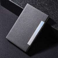 得力名片夹男士商务随身便携名片盒大容量创意个性卡包时尚名片夹超薄男式名片收纳盒简约女式卡盒PU皮不锈钢