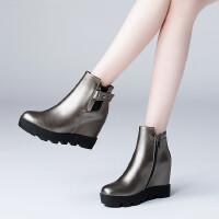 秋季新款真皮中筒短靴舒适坡跟内增高女靴专柜品质骑士靴 (绒里)
