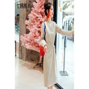 七格格韩版修身中长款收腰新款连衣裙春季装女装长袖显瘦气质裙子潮