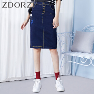 zdorzi卓多姿单排纽扣图案牛仔半身裙女832029