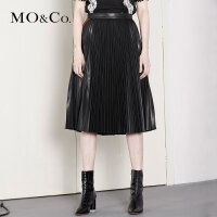 MOCO高腰拉链撞色织带百褶PU半身裙MA174SKT105 摩安珂