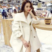 秋冬新款名媛小香风双排扣羊毛呢大衣女粗花呢外套 米白色