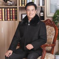 中老年男士毛呢大衣冬季新款加绒厚款毛领保暖中长款纯色休闲外套