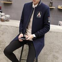 男士风衣新款冬季韩版修身中长款毛呢大衣潮流帅气呢子外套男 藏青 M