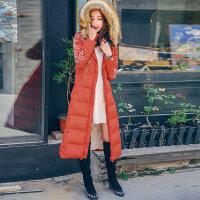 裂帛女装2017冬新款刺绣仿毛边带帽白鸭绒衣过膝长款羽绒服女