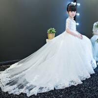 女童蓬蓬裙钢琴演出服 2017儿童礼服拖尾婚纱公主裙走秀小主持人晚礼服 白色