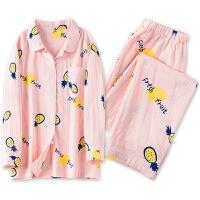 粉色带草莓的家居服日本长袖春夏季棉质开衫甜美少女睡衣套装