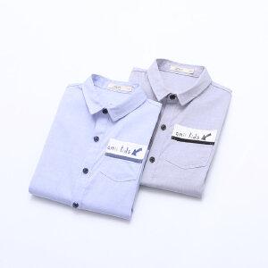 【下单立享5折】amii童装2017夏季男童中大童翻领衬衫短袖休闲立领拼接外套