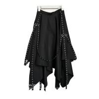 不规则下摆半身裙街头风织带春黑色时尚长裙高腰大摆裙子蓬蓬裙女 黑色(超大摆)