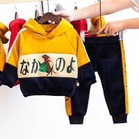 男童秋冬装金丝绒套装加绒洋气童装婴幼儿衣服两件套冬季潮