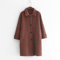 224-1015简约时尚秋季新款女纯色翻领针织衫大衣刺绣长款外套风衣 均码