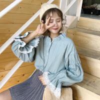 春季韩版小清新灯笼袖娃娃衫宽松花边长袖衬衫学生打底衬衣上衣女