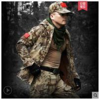 户外军迷野战沙漠蟒绒加厚作战训练军装纹迷彩服男套装加
