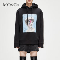 MOCO冬季新品做旧恶搞图案连帽中性男友风卫衣MA184SWS201 摩安珂