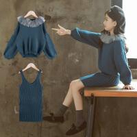女童毛衣套装冬新款连衣裙针织衫两件套