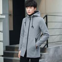 秋冬季男士风衣外套中长款纯色连帽毛呢大衣潮流青年休闲外衣