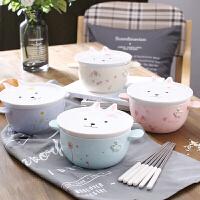 创意韩式可爱方便面碗带盖勺大号学生宿舍家用泡面卡通碗陶瓷日式